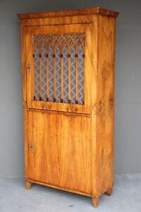 Gothic revival Biedermeier walnut bookcase armoire original antique patina 1830