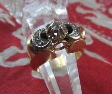 ancien bague or massif 18 carats diamant solitaire ++++