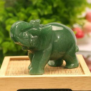 2X Natural Green Jade Stone Craving Elephant Statue Decor Home Ornaments