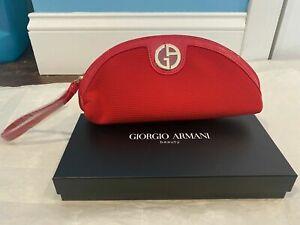 GIORGIO ARMANI Beauty Red Oval Make Up Bag / Pouch