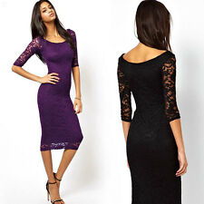 UK Womens 3/4 Sleeve Bodycon Lace Pencil Cocktail Party Evening Midi Dress 6-16
