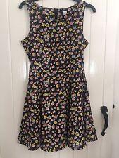 H&M Black Floral Shory Skater Summer Holiday Dress - Size 10/36