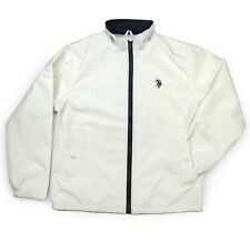 US Polo Assn Windbreaker Jacket Mens Size M Off-White Cream