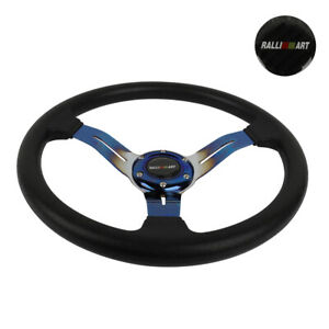 "14"" JDM Racing Ralliart Style Burnt Blue Sport Steering Wheel With Horn Button"