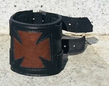 Iron Cross Leather wrist band cuff  Schcwartz Biker metal feeanddave