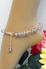 Glass Jewels XXL Silber Fußkettchen Perlen Sommer Hellviolett Variabel #J048