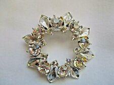 Wreath Shape Brooch Pin Vintage Clear Rhinestones Diamante Round