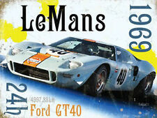 Le Mans 24h 1969 Ford GT40 Gulf Race Car Retro Motorsport, Small Metal Tin Sign
