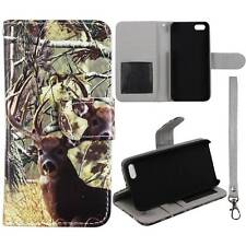 For Apple Iphone 5  5S Tail Deer Camouflage Flip Wallet Leather Case Cover Glob