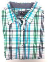 Club Room Blue Green Plaid 100% Cotton Short Sleeve Shirt 3XB Big & Tall Big 3X