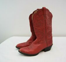Ariat Heritage Western Boots 8B Womens Red Leather Round Toe Cowboy Scallop