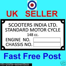 RARE! LAMBRETTA INDIA SCOOTER REPRO FRAME PLATE CHASSIS INFORMATION FRAME PLATE