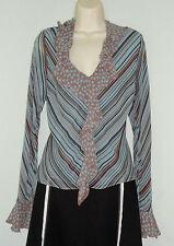 Silk V Neck Long Sleeve Striped Tops & Shirts for Women