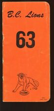 1963 Canadian Football League CFL British Columbia Lions Yearbook VG