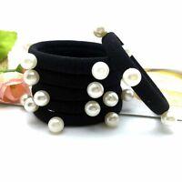 5/10Women Girls Pearl Hair Band Ties Elastic Rope Ring Hairband Ponytail Holder*