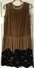 Etro Italy Womens Golden Velvet Dress Pleated Floral Skirt Sz 46