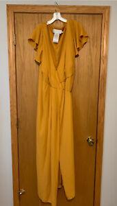 NEW David's Bridal Wrap Bridesmaid Dress w/ Flutter Sleeves - Marigold