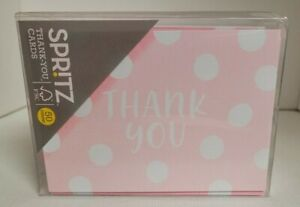 Spritz Thank You Card Set 50 Count. Pink Polka Dots!! Free Shipping