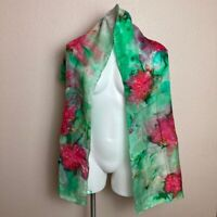 MWOT Hand Painted Womens Scarf Green Pink Tie Dye Look 100% Silk Hand Rolled