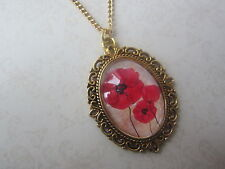 Handmade Vintage Gold Red Poppy Trio Glass Cameo Long Necklace New in Gift Bag