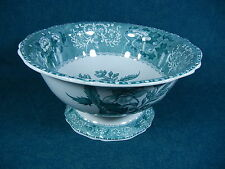 Copeland Spode Green Camilla Large Footed Centerpiece / Salad / Punch Bowl