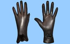 NEW WOMENS size 7 BLACK LEATHER GLOVES WITH MINK FUR ACCENTS - FREE SHIPPING