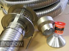 """7m Stainless 6"""" Quality Chimney Flue Liner Easyfit Kit"""