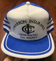 Vintage 3 Stripes Cimarron Insurance Agency Snap Back Trucker Hat Cap Blue White
