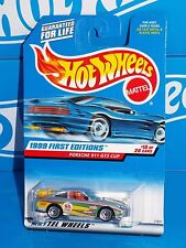 Hot Wheels 2003 First Editions #912 Porsche 911 GT3 Cup Silver w/ Yellow Wing