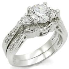 3.8 TCW Triple Round CZ Stone Vintage Filigree Wedding Bridal Ring Set Size 10