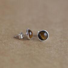 925 Sterling silver stud earrings with natural Tiger Eye gemstones