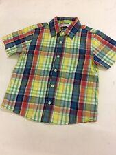 Marks & Spencer Indigo Jnr Collection Button Check Shirt 100% Cotton Age 7 Years