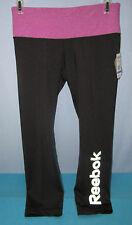 REEBOK~XS~Black & Purple Athletic Yoga Running Workout Skinny Capri Pants