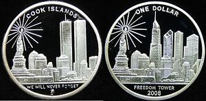 Cook Is 2008 Large 1 OZ .999 Silver  $1 9/11 World Trade Center/Freedom Memorial