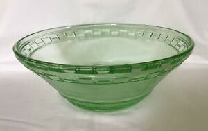 Depression Glass Green Large Bowl C.1930's.