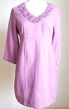 Boden Dress women size 6 Purple Lilac Linen blend Shift V neckline Floral detail