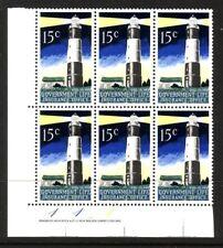 NEW ZEALAND....  1969  15c lighthouse plate 111,  block of 6 mnh