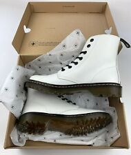 DR. MARTENS WOMENS LUANA - WHITE Leather Combat Boots Size 10   Brand New In Box