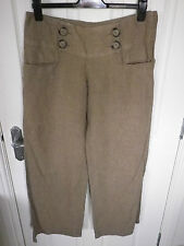 H&M 100% LINEN TAN BROWN PALAZZO WIDE LEG TROUSERS 38 UK 12 VERY GOOD CONDITION