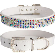SMALL Multi color Bling White PU Leather Crocodile Adjustable Luxury Dog Collar