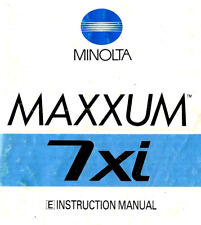 MINOLTA 7xi MAXXUM SLR 35mm CAMERA OWNERS INSTRUCTION MANUAL -MINOLTA