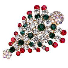 Multi-Colored Crystal Christmas Tree Brooch Pin Christmas Gift ED