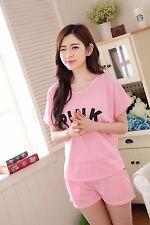 Hot PINK Cotton Women Girl Sleepwear Pajama Set Nightwear Shirt & Shorts L-2XL
