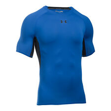 Under Armour compressione HeatGear Camicia Manica corta Nero Blu 1257468-789 HG S