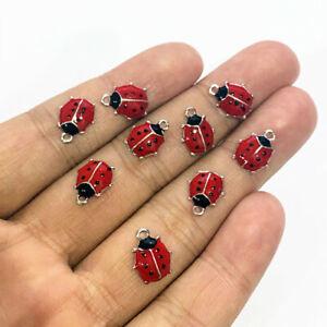 30pcs 12x9mm Red & Black Ladybug Charms antique silver Pendants Making