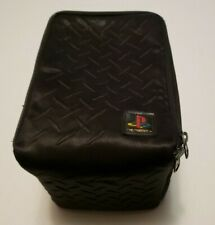 Sony Playstation PS1 PS2 Vtg. Padded Travel Bag Game Carry Case Black Grid RARE