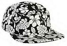 NEW BLACK WHITE HAWAIIAN FLOWER PRINT 5 PANEL STRAP BACK CAP ADJUSTABLE SKATE