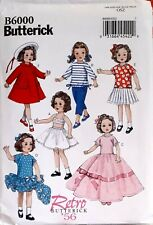 """New B6000 Butterick 18"""" Doll Clothes 1956 pattern reprint vintage style 1950s"""