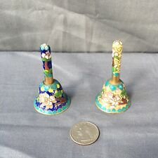 Lot of 2 Cloisonné Bells enamel on metal with tall handles Oriental