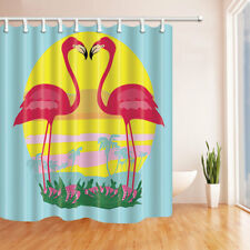 The Loving Flamingo Decor Fabric Shower Curtain Bathroom & 71*71inch